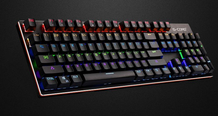 G-Cord Wireless Mechanical Keyboard with LED Backlit 2.4G Connection Side View