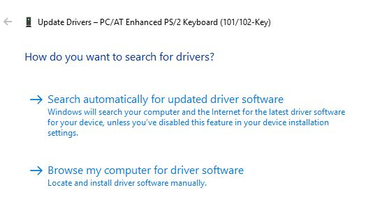 Windows Install Driver Search Options