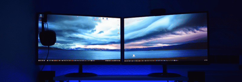 dual monitors setup on a table
