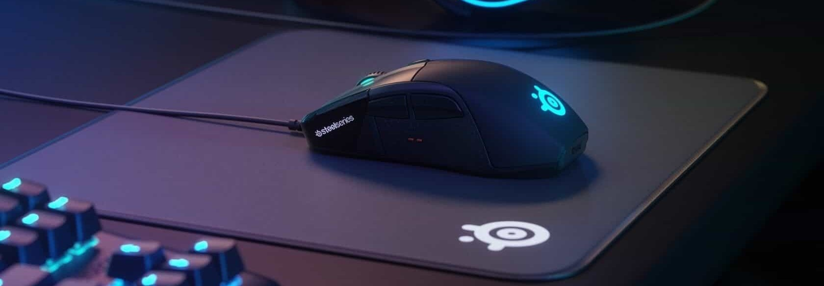 logitech gaming mouse on logitech mouse pad