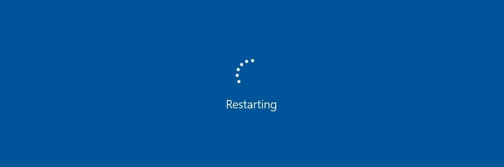 windows restart screen blue