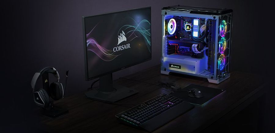 Corsair Crystal 570X RGB on table