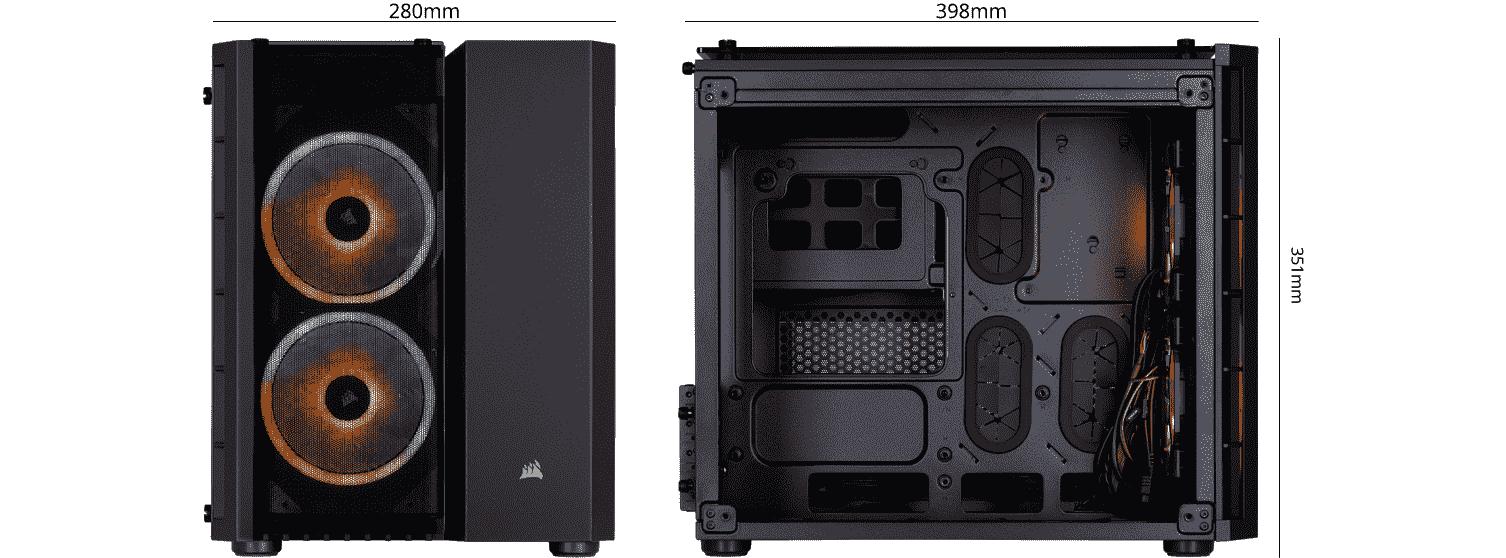 Corsair Crystal Black 280X RGB size