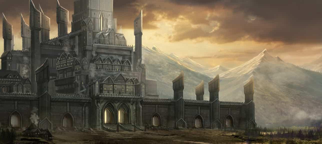 fantasy fortress sunset